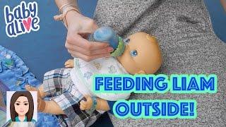 Feeding Baby Alive Liam Outside!