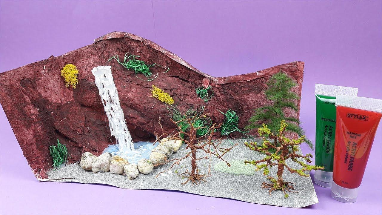 Landschaft Bauen Berge Gestalten Felsen Basteln Wasserfall Flussbett Selber Machen Anleitung