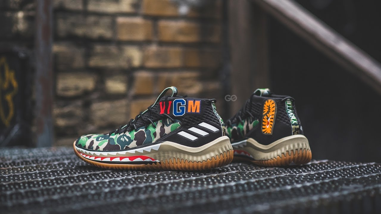 new product cb5d8 f39b8 Review  On-Feet BAPE x Adidas Dame 4