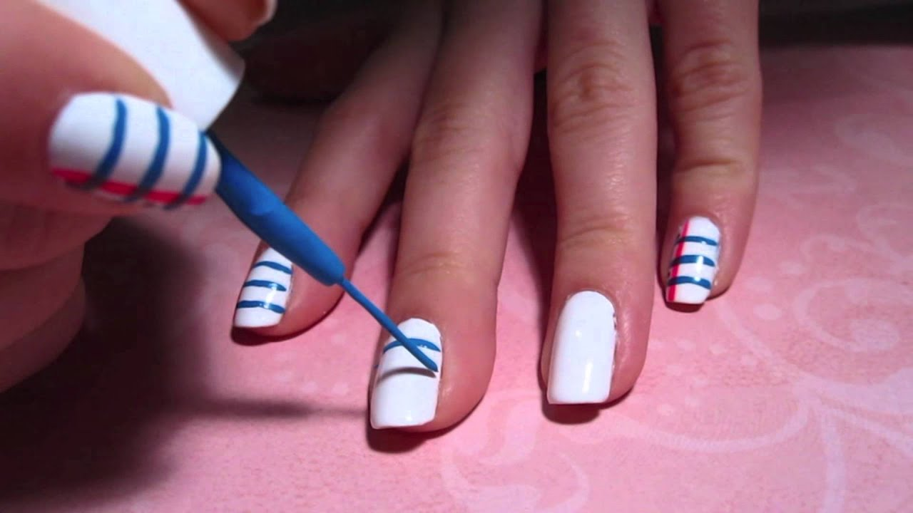 Back-To-School Tutorial: Lined Paper Nail Art (EASY) - YouTube