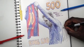 King Leo Pen Drawing - Greatest Celebration Ever! 3- 2 Barcelona vs Real Madrid - DeMoose Art