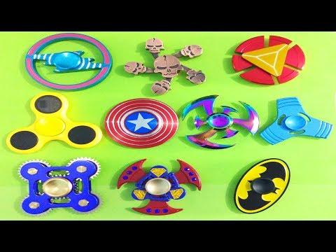 10 Super Cool Fidget Spinner! Captain America, Iron Man, Batman, Skull, Gear, LED,Blade, Superman!