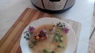 Вкусный  Гороховый суп с рёбрышками в мультиварке.