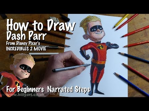 How to Draw Dash from Incredibles 2 voiced by Huck Milner