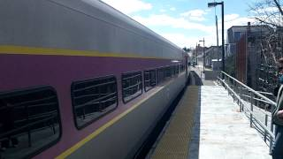 MBTA Commuter Rail Train Arriving At Manchester By The Sea