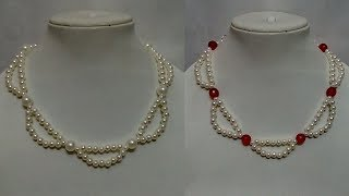 #85 How to Make Pearl  Beaded Necklace || Diy || Jewellery Making