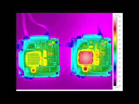 Reliant Labs Infrared Thermal Scan on Motherboard - Leaded on Left vs. RoHS on Right.