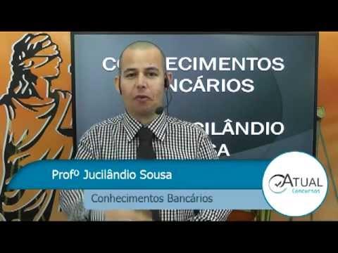 Jucilândio no www.atualconcursos.com, anunciando aulas de Conhecimentos Bancários