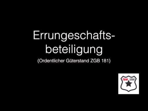 Eheliches Güterrecht ZGB 181 - 251