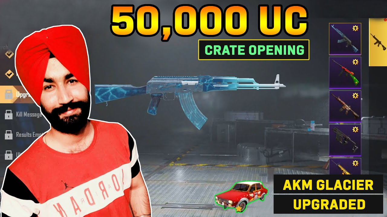PUBG MOBILE | 50,000 UC CRATE OPENING | AKM GLACIER UPGRADED | LUCKY SPIN