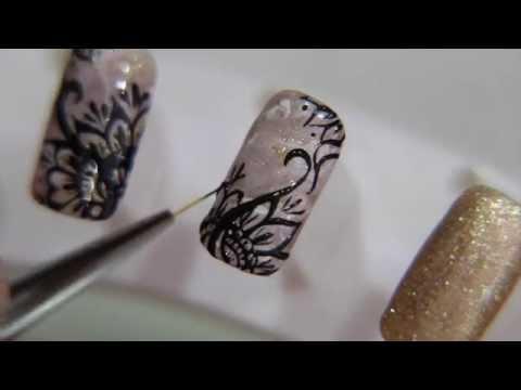ลายเส้นดอกไม้ สีเจล Floral Nail Art : gel Polish