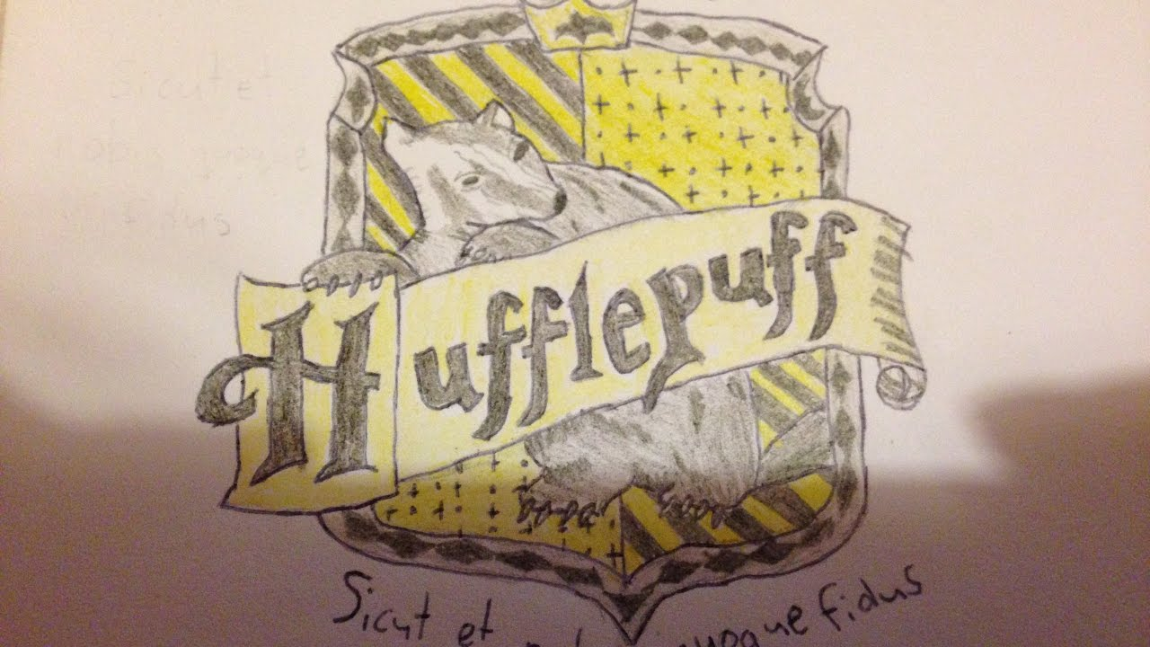 Drawing The Hufflepuff Crest Youtube