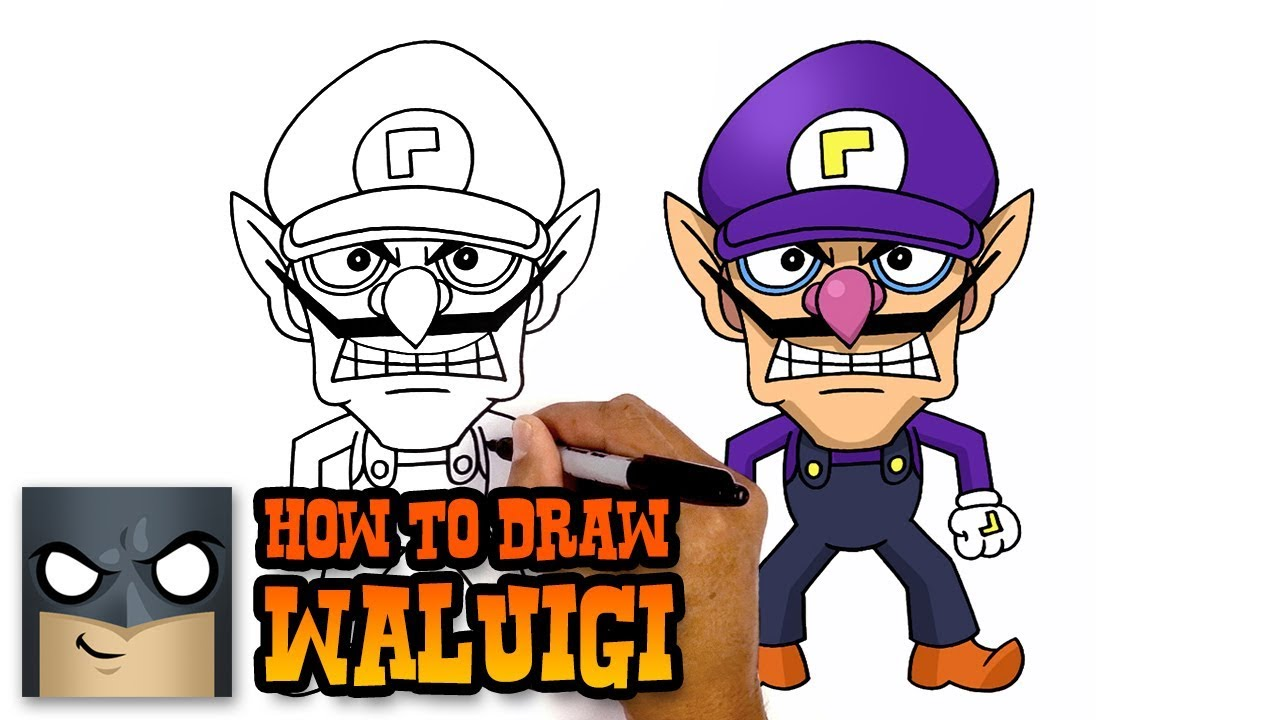 Waluigi character. How to draw super
