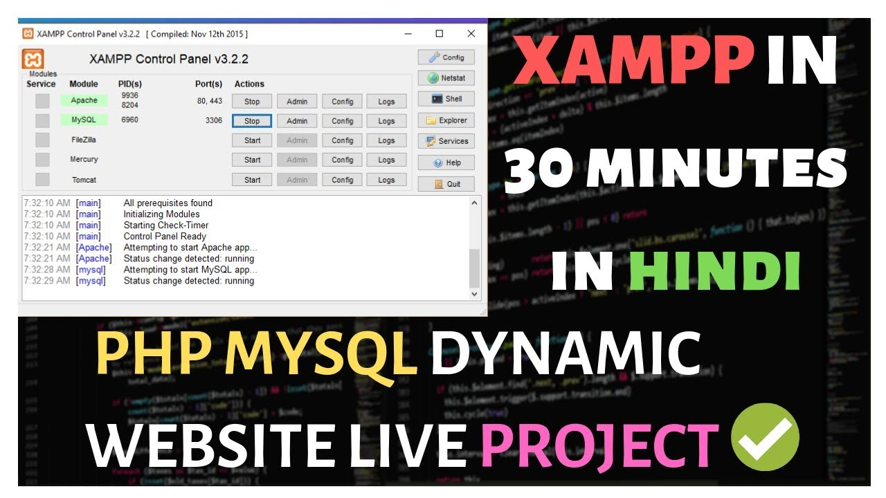 XAMPP Tutorial In One Video In Hindi With Live PHP MYSQL Project Using phpMyAdmin 2019