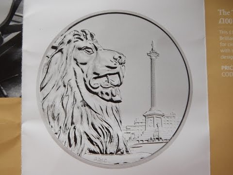"£100 silver coin ""Trafalgar Square"" from the Royal Mint."