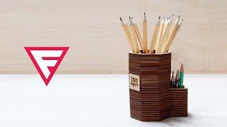 как сделать стакан для карандашей из фанеры? Лазерная резка в помощь!