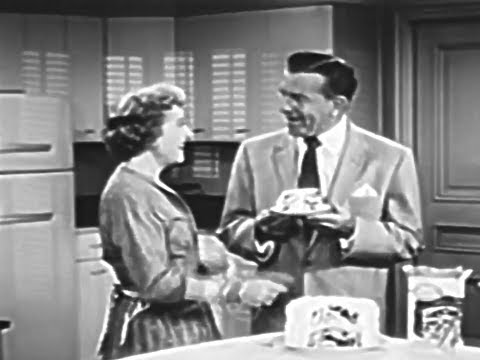 Betty Crocker Marble Cake Mix with George Burns & Gracie Allen 1958 TV Commercial HD
