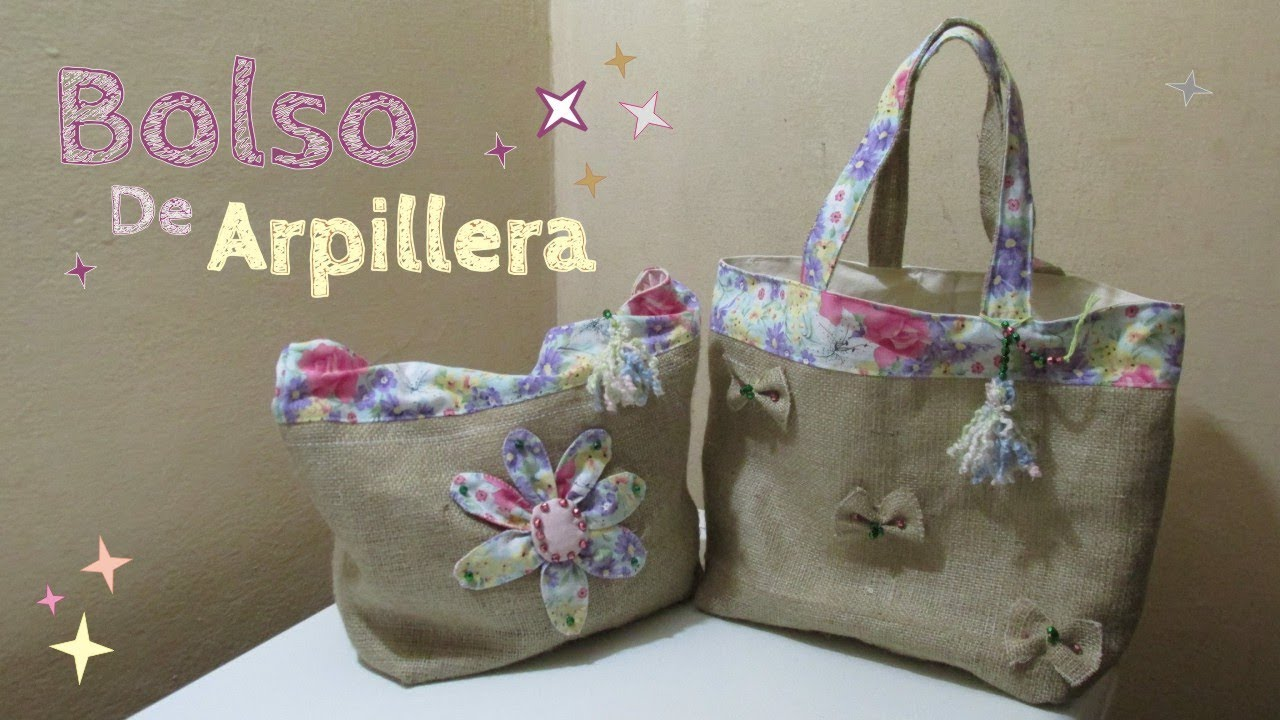 ea5e45094 Como hacer un bolso de arpillera - YouTube