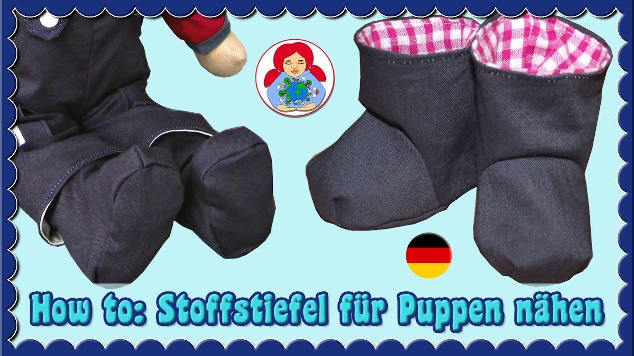 DIY   Puppenstiefel aus Stoff   Sami Dolls Schnittmuster - YouTube