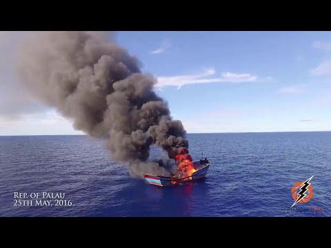Illegal Fishing boat burn Palau National Marine Sanctuary