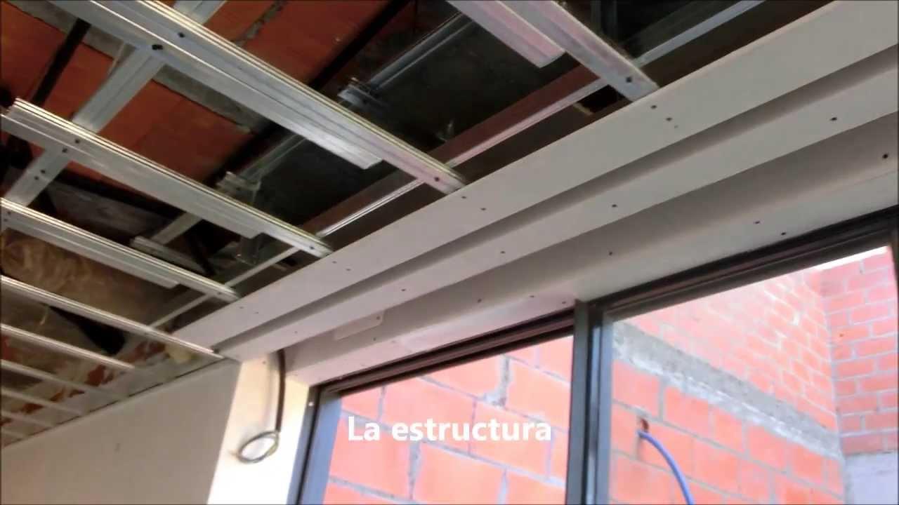 Fabricaci n y montaje de cortineros y candilejas con preformados de pladur 1 parte youtube - Como colocar pladur en techo ...