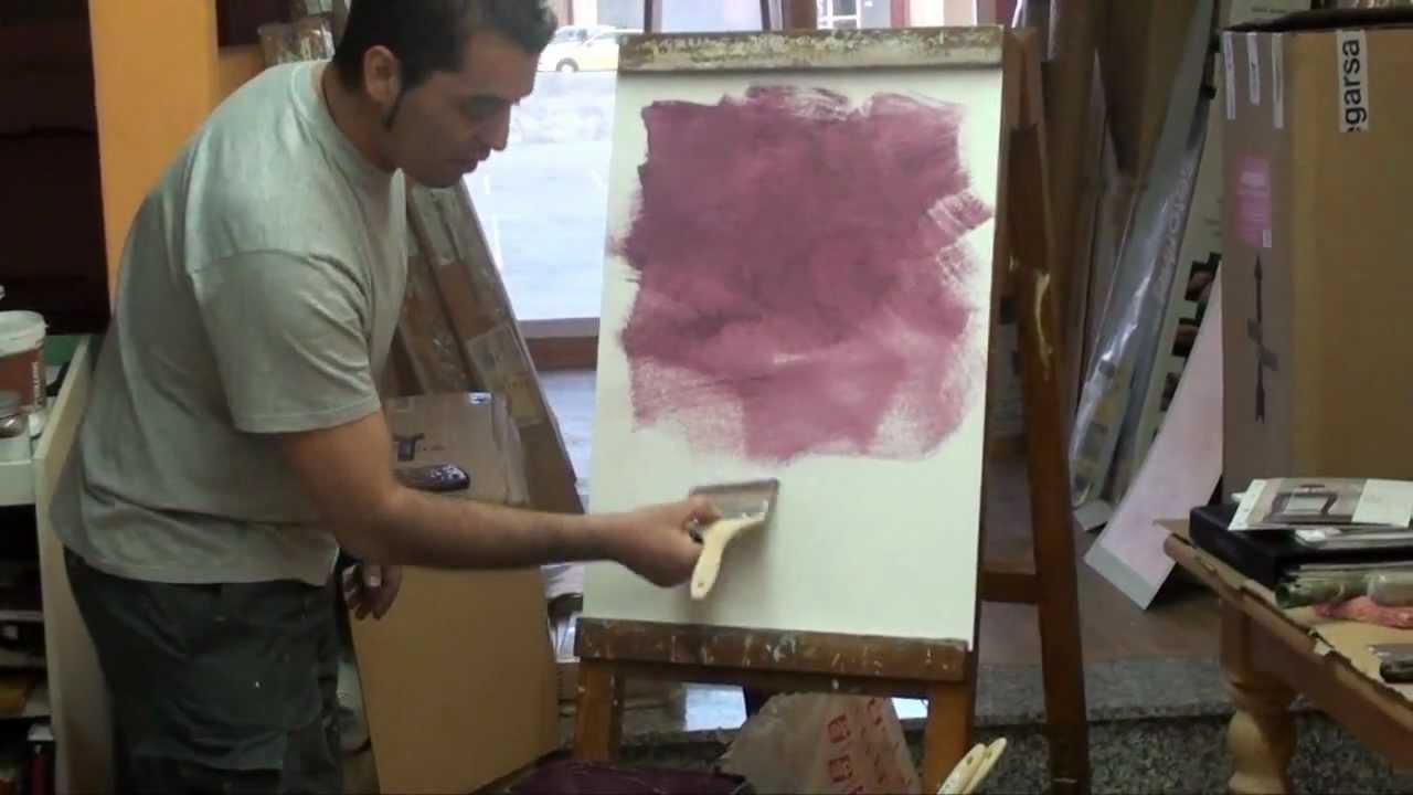 Demostraci n de aplicaci n de la pintura efecto arena for Pintura efecto piedra