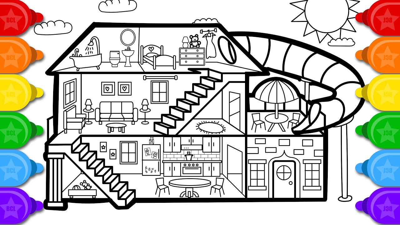 Glitter House Coloring and Drawing for kids  How to draw a glitter house  coloring page