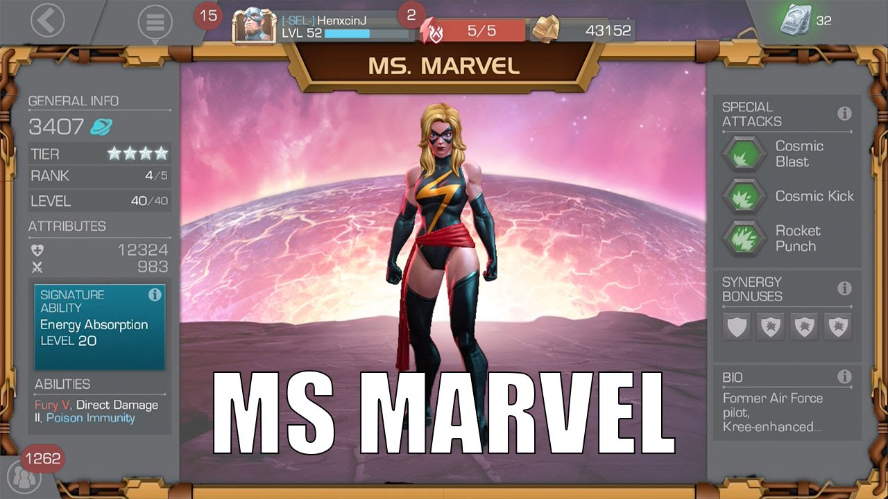 marvel contest of champions   four star ms marvel review!