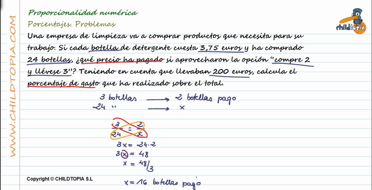 Proporcionalidad numérica: Problemas de porcentajes. 1º de ESO - YouTube