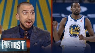 Nick Wright on Kevin Durant's 20K point milestone, Talks Warriors' woes | FIRST THINGS FIRST