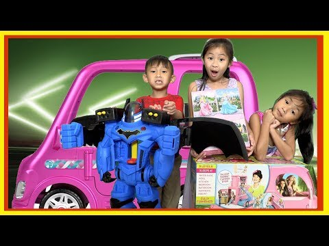 Pretend Play Power Wheels Ride On Car REAL Barbie Dream Camper with Ryan's Toy Review Toys