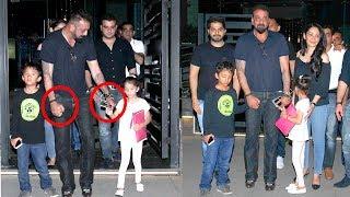 Sanjay Dutt Becomes CUTE Father  Walks Holding Children's Hands   Shahraan & Iqra