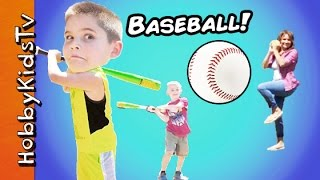 Play Baseball Game! Family Fun Field Day with HobbyPig + HobbyFrog n Bear HobbyKidsTV