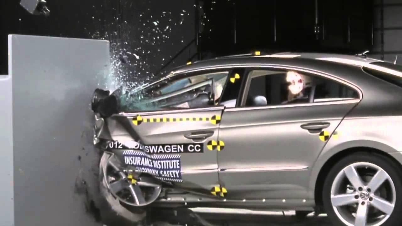 2012 Volkswagen (Passat) CC IIHS Narrow/Small Overlap Frontal Offset (Marginal Rating) - YouTube