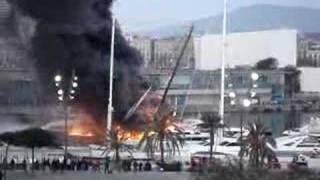 Yacht on Fire Barcelona