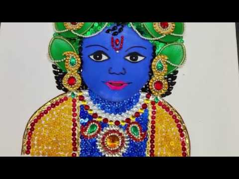 b757a8b362ea3 KRISHNA PAINTING USING WIRE, BANGLES AND STOCKING CLOTH