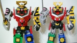 Samurai Sentai Shinkenger DX Shinken-Oh VS Power Rangers Samurai Megazord toy review