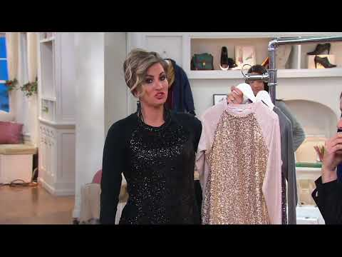 Isaac Mizrahi Live! Sequin Panel French Terry Sweatshirt on QVC