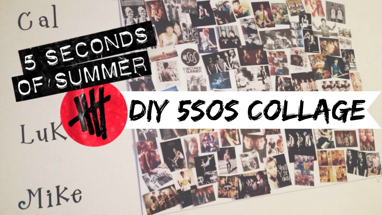 Diy 5sos collage tutorial youtube for Room decor 5sos