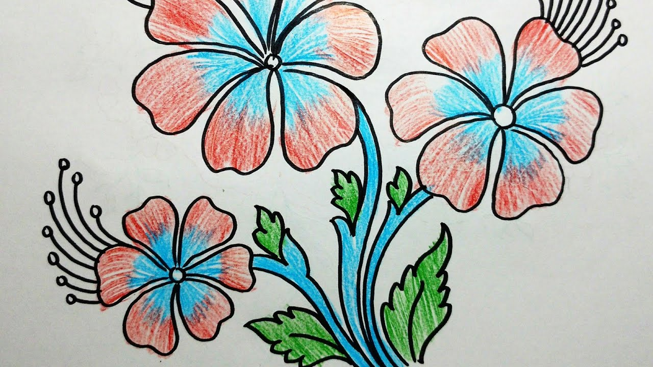 Flower Design With Colour Pencil Drawing Youtube