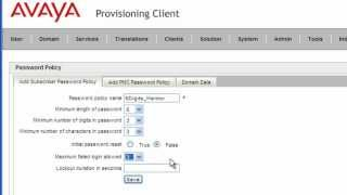 Avaya AS5300 Provisioning Client Password Policies Management