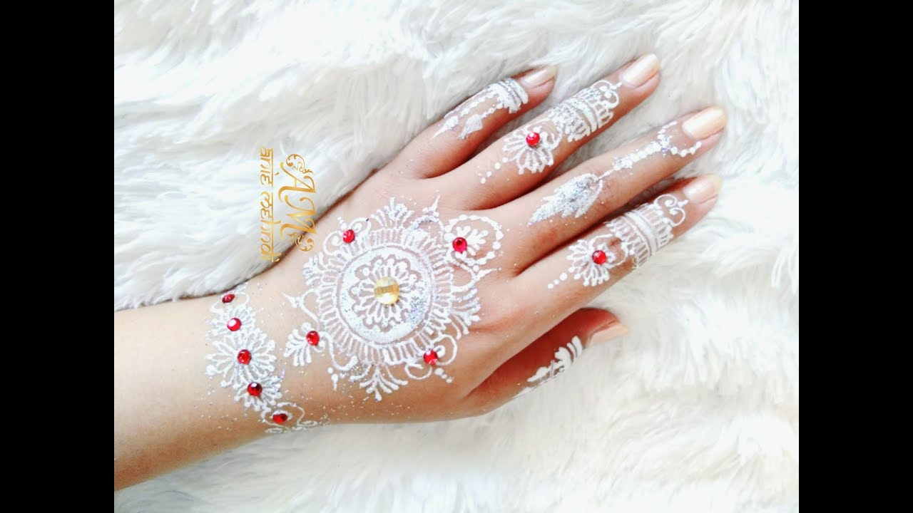 White Henna Design For Wedding Easy Diy Henna 61 Youtube