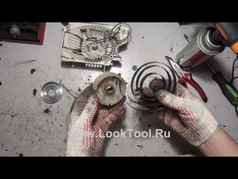 Как заправить пружину на бензопиле