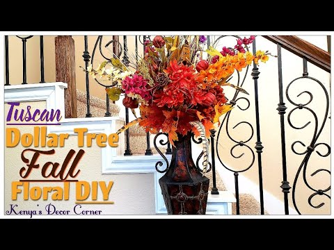 Dollar Tree Fall Floral DIY | Tuscan Inspired | Vlogust/VEDA Day 8