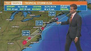 Tropical Storm Elsa heads north along East Coast, tropical storm warnings possible