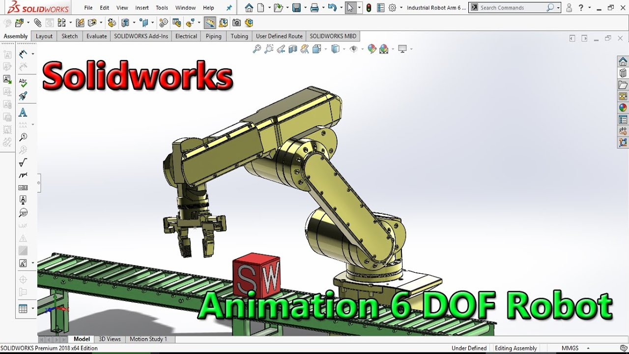 Solidworks Tutorial HP: Industrial Robot Arm - Part 02 - Animation 6 DOF  (Degrees of Freedom) Robot