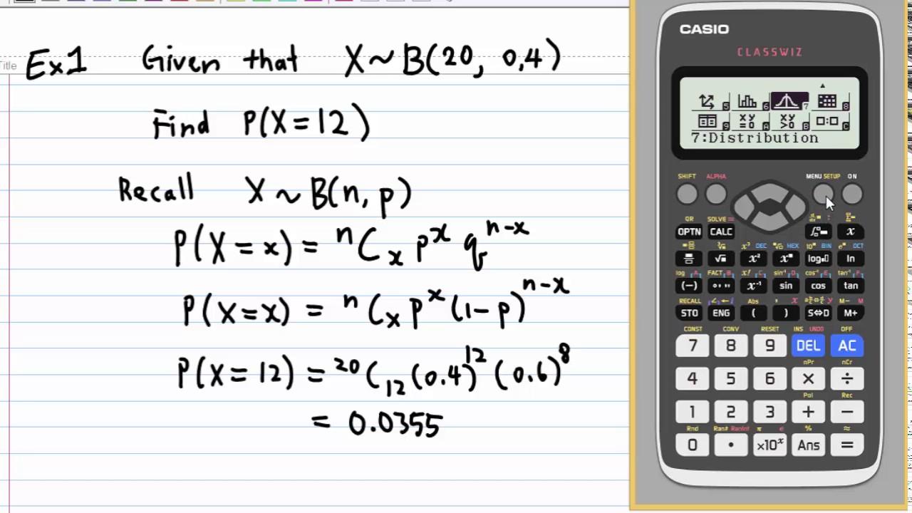 Binomial Distribution with CASIO fx 991 EX - YouTube