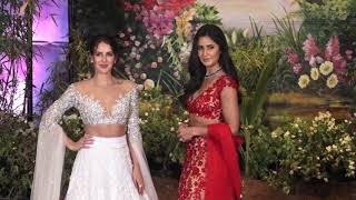 Katrina Kaif in Red Dress With Sister Isabelle At Sonam Kapoor's Wedding Reception
