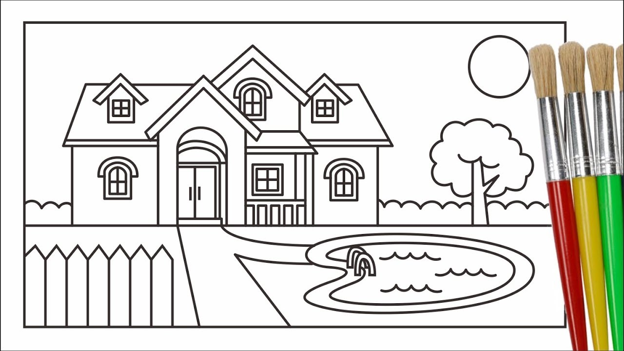 How To Draw And Color House & Outdoor And For Kids
