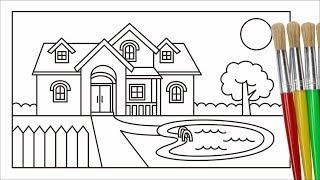 Cara Menggambar Dan Mewarnai Rumah Pemandangan Taman Untuk Anak Youtube